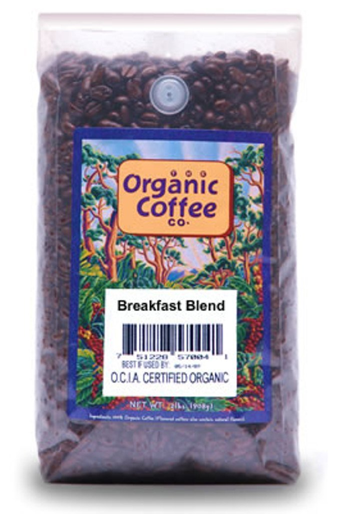 The Organic Coffee Co., Breakfast Blend- Whole Bean, 2-Pound (32 oz.), USDA Organic by The Organic Coffee Co.