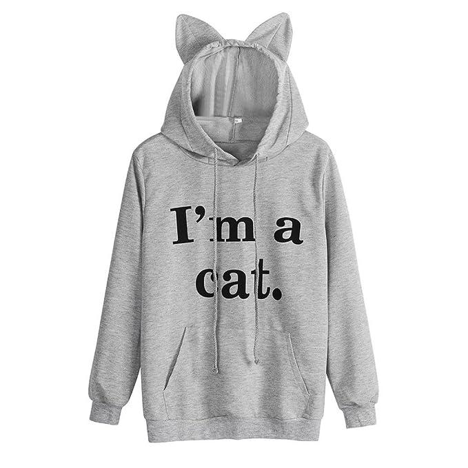 Camisa de Entrenamiento Mujer, Covermason Sudadera con Capucha y Gato de Manga Larga para Mujeres