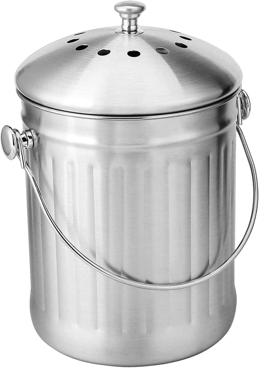 KizmetKare Stainless Steel Kitchen Countertop Compost Bin with Lid- 1.32 Gallon Compost Bucket with 2 Charcoal Filters, Home Organic 5 Liter Compost Pail for Kitchen Waste