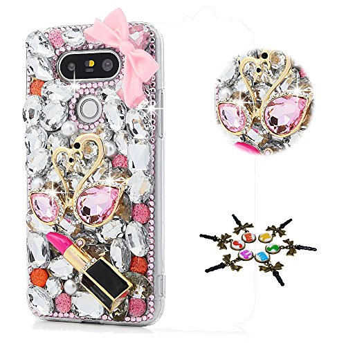 STENES LG Tribute Dynasty Case - STYLISH - 100+ Bling - 3D Handmade Sweet Swan Lipstick Bowknot Design Protective Case for LG Tribute Dynasty - (Dynasty Sweet)