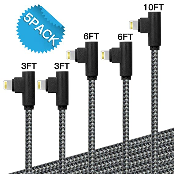 Black Grey 3-6-6-10 ft iPhone Charger Fast Charging Cord 90 Degree Data Cable for iPhone X//Max//8// 8plus//7// 7plus and More 4-Pack