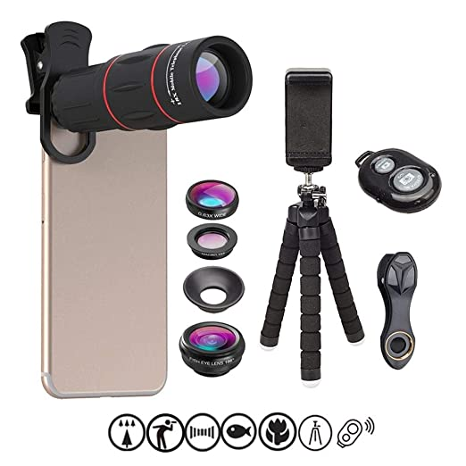 Amazon.com: Apexel Mobile Photo Camera Set-Flexible Phone Tripod+Remote Shutter+4 in 1 Lens Kit-High Power 18x Monocular Telephoto Lens, Fisheye Lens, ...