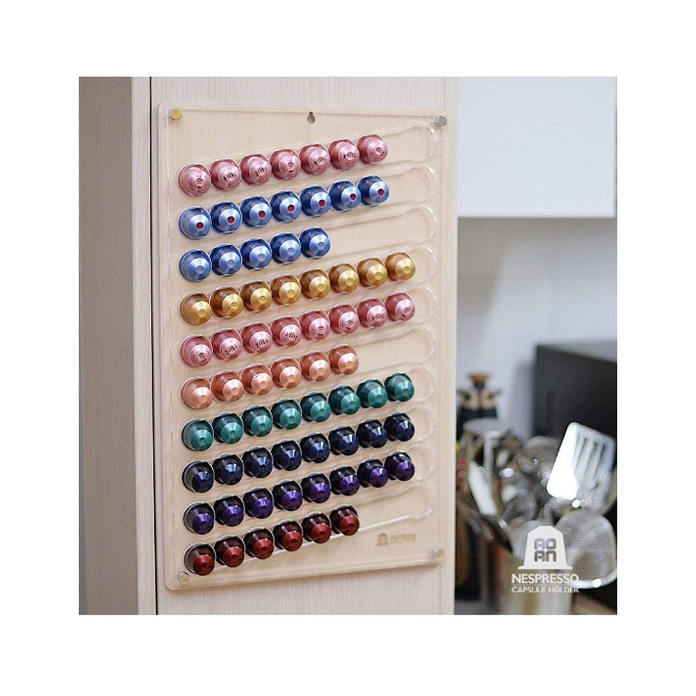 Wall Capsule Holder For Nespresso Capsules, Coffee Pods Storage Dispenser Holds up to 80 Pods