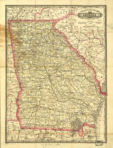 Map Poster - Indexed railroad and county map of Georgia. - (Georgia Map)