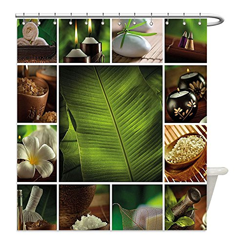 Towel Hygienic Costume (Liguo88 Custom Waterproof Bathroom Shower Curtain Polyester Spa Decor Collage of Candles Stones Herbal Salts Towels and Botanic Plants Print Green White and Brown Decorative)