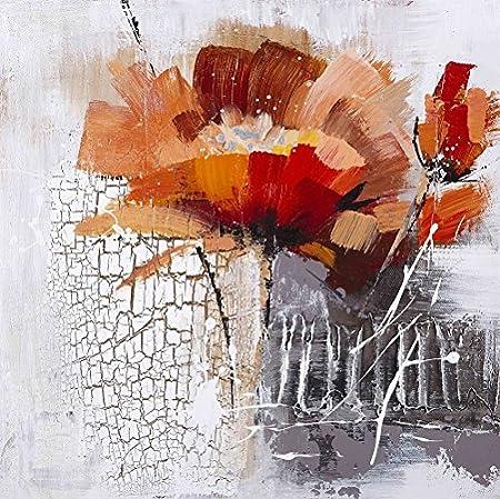 ETA-BL Peinture sur Toile Fleur Coquelicot. Tableau Contemporain 100% Peint  à la Main. Dimension 80 X 80 cm. Livré avec Châssis.: Amazon.fr: Cuisine &  Maison