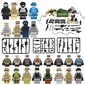 ZDToys Minifigures set-24 Army Marine Corps with Military Weapons Accessories Navy Soldier Minifigures Toys Building Blocks 100% Compatible (24 Army)
