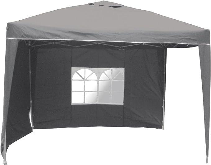 Carpa de aluminio 3 x 3 x 2, 6 m, cenador plegable, impermeable, poliéster, 2 partes laterales, pérgola, gris: Amazon.es: Jardín