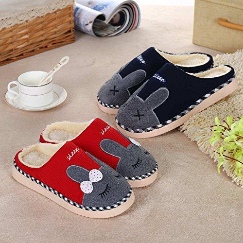 Rembourré Antidérapant A Rouge Chaud Coton Unisexe Homme Doux Hiver Lapin Mignon Chaussons Confortable Femme Peluche Pantoufles Chaussures Minetom 7vUaxw11