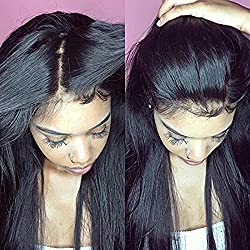 "ARUKIHAIR Women's Brazilian Virgin Hair Silky Straight 5""x4.5"" Inches Silk Base Full Lace Wig 10A Grade Human Hair Silk Top Wigs With Baby Hair 150 Density Natural Color 18 Inch"