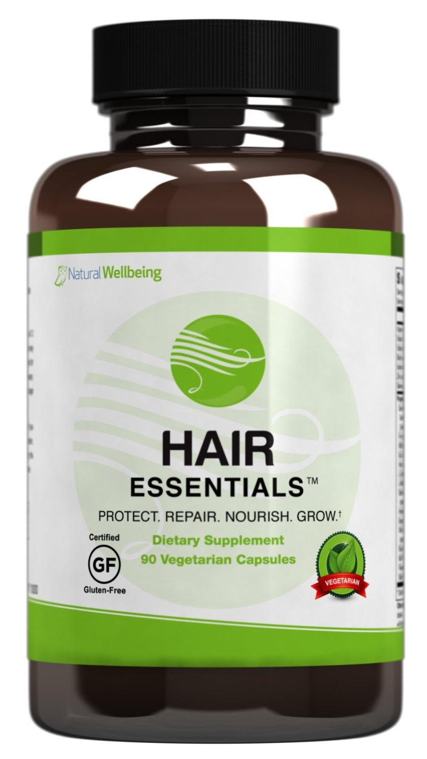Hair Essentials Natural Hair Growth Supplement for Women and Men-All New Mega Pack- 180 Vegitarian Capsules