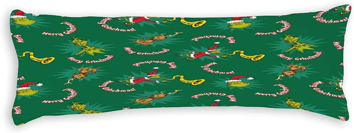 Body Pillowcase, Dr Seuss The Grinch Merry Grinchmas Pattern Extra Long Body Pillow Covers Cases 20