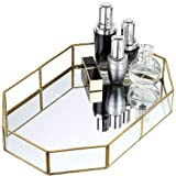Hipiwe Gold Mirrored Makeup Tray Gold Metal Decorative Jewelry Tray Vanity Cosmetic Perfume Organizer for Dresser, Bathroom, Bedroom,Home Decor (Big)