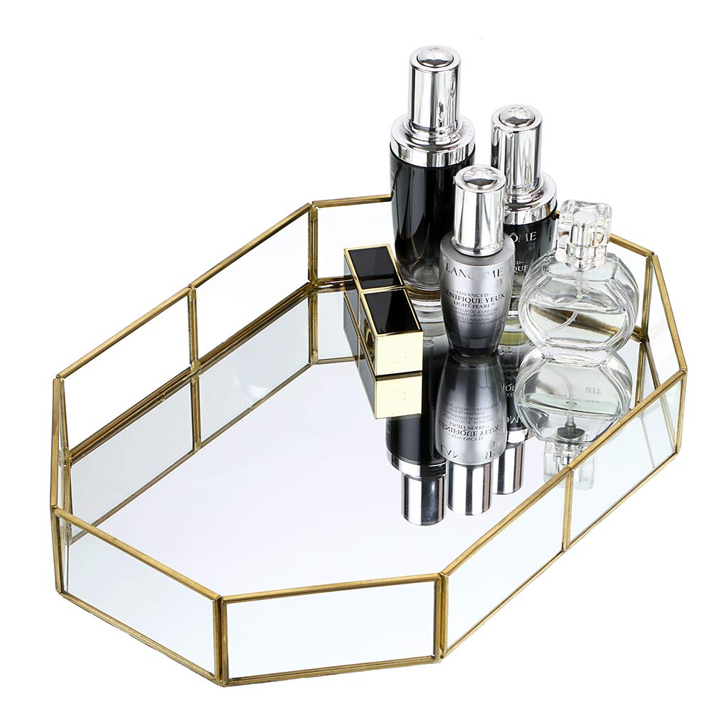 Hipiwe Gold Mirrored Makeup Tray Gold Metal Decorative Jewelry Tray Vanity Cosmetic Perfume Organizer for Dresser, Bathroom, Bedroom,Home Decor Big