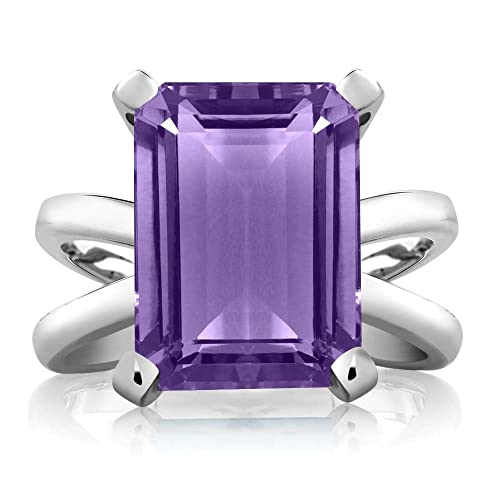 Gem Stone King Purple Amethyst 925 Sterling Silver Women s X Ring 7.10 Ct Emerald Cut 14X10MM Available 5,6,7,8,9