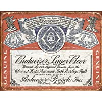 Budweiser Historic Label Distressed Retro Vintage Tin Sign , 16x13
