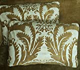 Mariano Fortuny Cotton Fabric Custom Designer Throw Pillows Old Gold Off White Glicine Set of 2 New