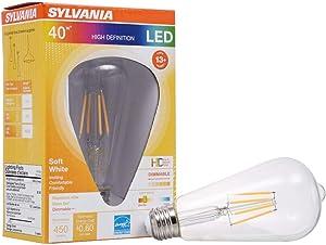 SYLVANIA General Lighting, Soft White 40254 Sylvania LED Filament Light Bulb, ST19 Lamp, Medium Base, Edison Style Vintage, Clear Finish, Efficient 5W, 2700K, 1 Pack