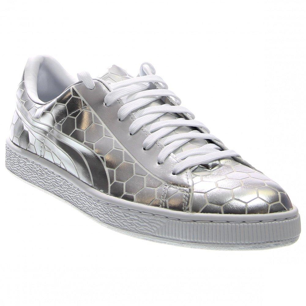 PUMA Men's Basket Classic Metallic Fashion Sneaker, Silver, 9.5 M US by PUMA (Image #1)