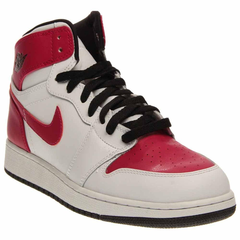 25c200be9c4e94 Nike Air Jordan Retro 1 High Mens Boys Shoes (332148-108)  White Black Fuchsia Size 9.5