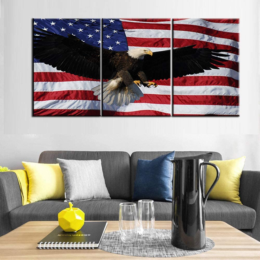 American Flag Wall Decor Animal Bald Eagle Picture Patriotic Painting 3 Piece Wall Art Native America Canvas Artwork Living Room House Modern Decor Framed Ready to Hang Posters and Prints(48''Wx24''H)