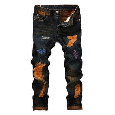 6a3f857249 AMSKY❤ Men Denim Jeans, Vintage Hole Jeans Denim Folds Wash Work ...