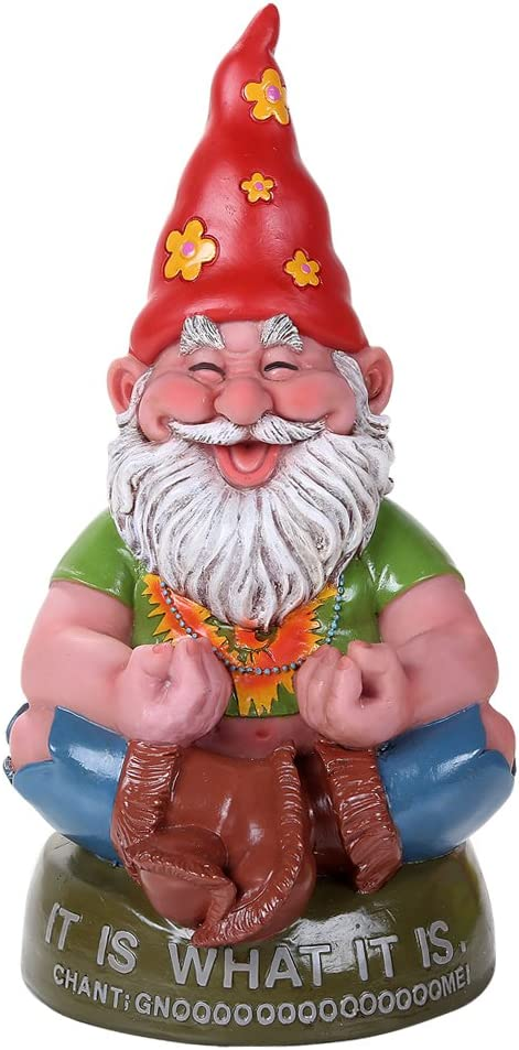 Pacific Giftware Hippie Gnome Meditating Chant Gnome Outdoor Statue 10.5 Inch Tall