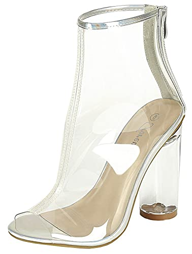 Forever Clear 24 Womens Clear Chunky Heel Peep Toe Lucite Sandals