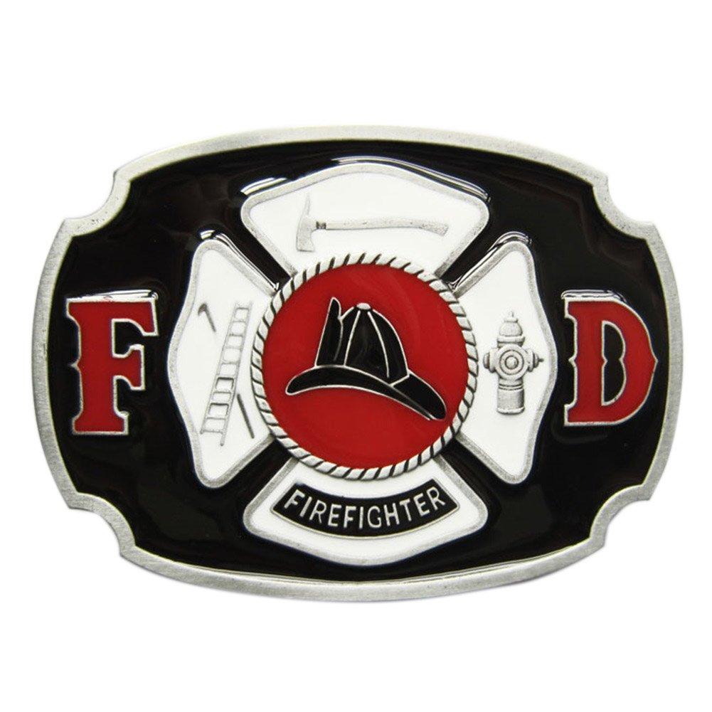 New Vintage Enamel Fire Hero Firefighter FD Belt Buckle Gurtelschnalle