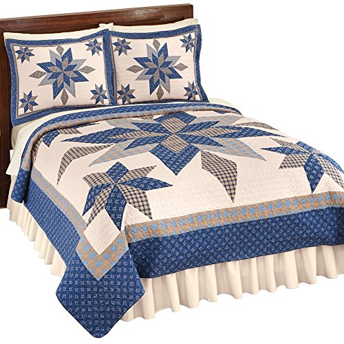 Reversible Navy Star Patchwork Quilt Navy King, Navy, King