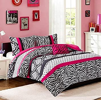 Comforter Bed Set Teen Kids Girls Pink Black White Animal Print Polka Dots Bedding  Set. Amazon com  Comforter Bed Set Teen Kids Girls Pink Black White