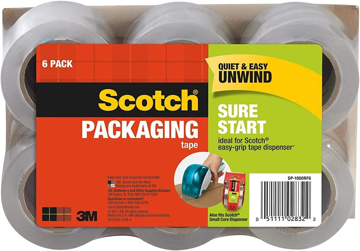 Scotch Sure Start Packaging Tape 1.88 Inches x 900 Inches for 1.5 inch core