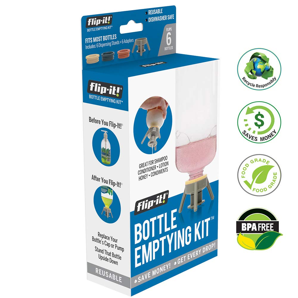 Flip It! Bottle Emptying Kit - Flip Bottle Upside Down to Get Every Drop Out of Lotions, Shampoos, Conditioners and Kitchen Condiments 6 Pack - BPA Free - Dishwasher Safe