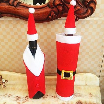 JUNMAONO 2 Piezas Cubierta De Vino De Navidad, Navidad Bolsa De Vino Tinto Botella,