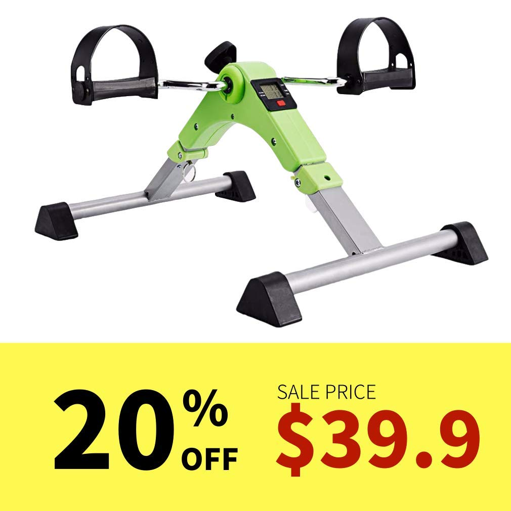 SYNTEAM Foldable Pedal Exerciser with LCD monitor bike exercise machine for Seniors-Fully Assembled, No Tools Required(Green)