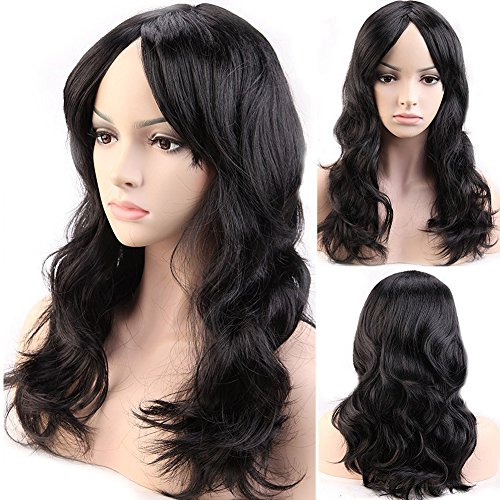 Cheap Diy Halloween Costumes For Girls (Cosplay Synthetic Full Wig with Bangs 20 Styles Heat Resistant Fiber Vogue Long Curly Wavy Layered 19'' / 19inch for Women Girls Lady Halloween Anime Costume Party Date,Black)