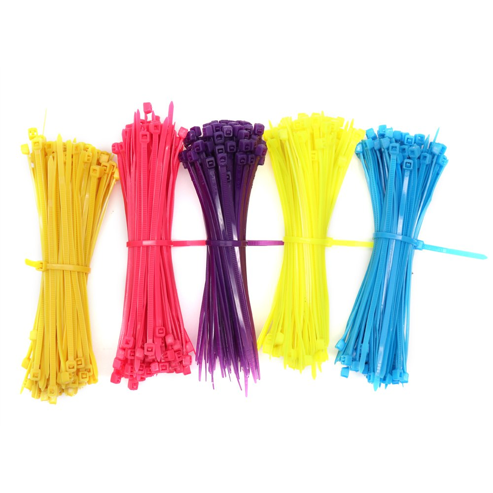 Karcy 500Pcs 4'' Multi-Purpose Assorted Color Cable Ties Self-Locking Wire Wraps Used in Indoor& Outdoor
