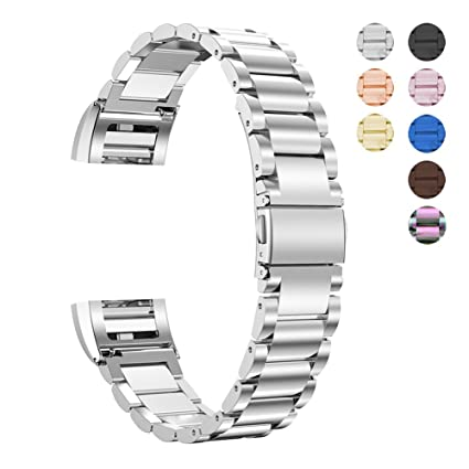 Oitom Stainless Steel Bands Compatilbe with Fitbit Charge 2,Premium  Stainless Steel SS Metal Replacement Watch Band Strap for Smart Fitness