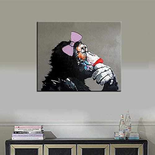 Female chimp animal painting abstract monkey record music modern wall art