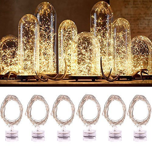 LED String Lights, Jeasun Candle Indoor/Ourdoor Micro LED Lights, 2m/6.5ft,Warm White Color, Battery Operated, Holiday DIY Decor Fairy Lights for Halloween Xmas New (Led Candle Lights)
