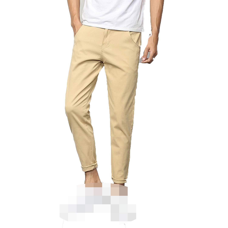 Slim Pencil Pants Casual Long Harem Trousers Mens Cotton Solid Color