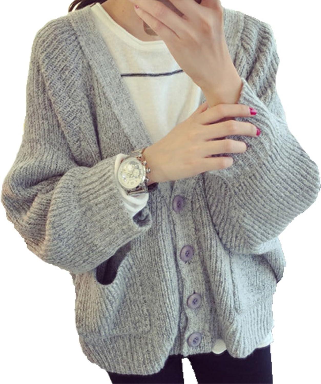 BININBOX® Damen fashionable Typ Strickjacke V-Ausschnitt Knopfleiste 3 verschiedene Farbe Freizeit Strick Mantel Pullover für Herbst und Frühjahr