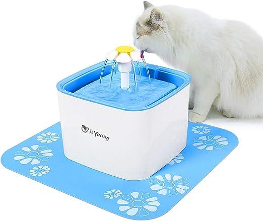 isYoung Bebedero Gatos Fuente Silencioso 2.5L para Perros y Gatos Bebedero Automático Fuente de Agua para Mascotas 3 Modos Ajustable y con 2 Filtros: Amazon.es: Productos para mascotas