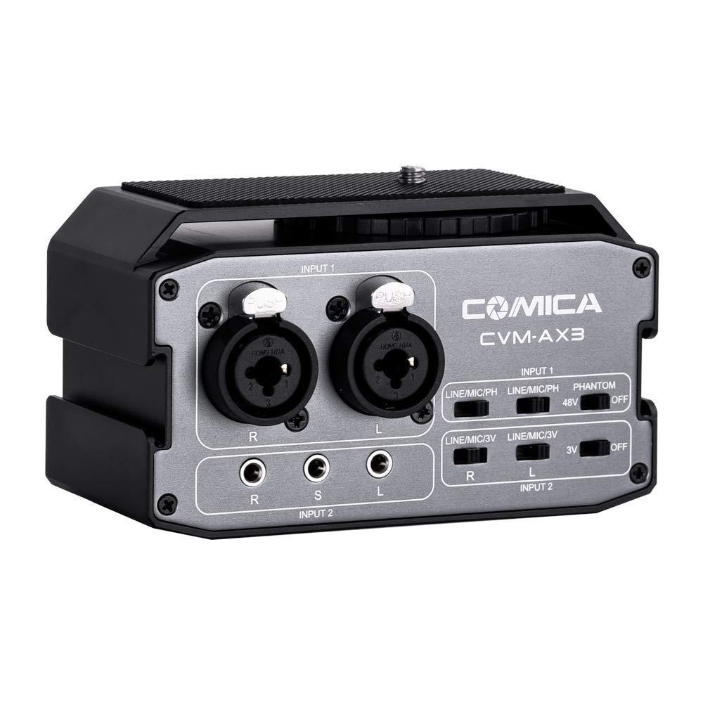 Comica CVM-AX3 Adaptador de mezclador de audio Preamplificador dual XLR / 3.5mm / 6.35mm Puerto de mezclador de cámara para Canon Nikon Sony Panasonic ...