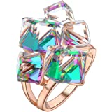 dnswez 18K Rose Gold Plated Crystal Cocktail Rings Cube Color Change Green Purple Big Ring for Women Girl Size 6-10