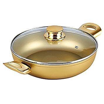 Bisetti - Olla antiadherente de aluminio con dos asas laterales de metal dorado, 24 cm