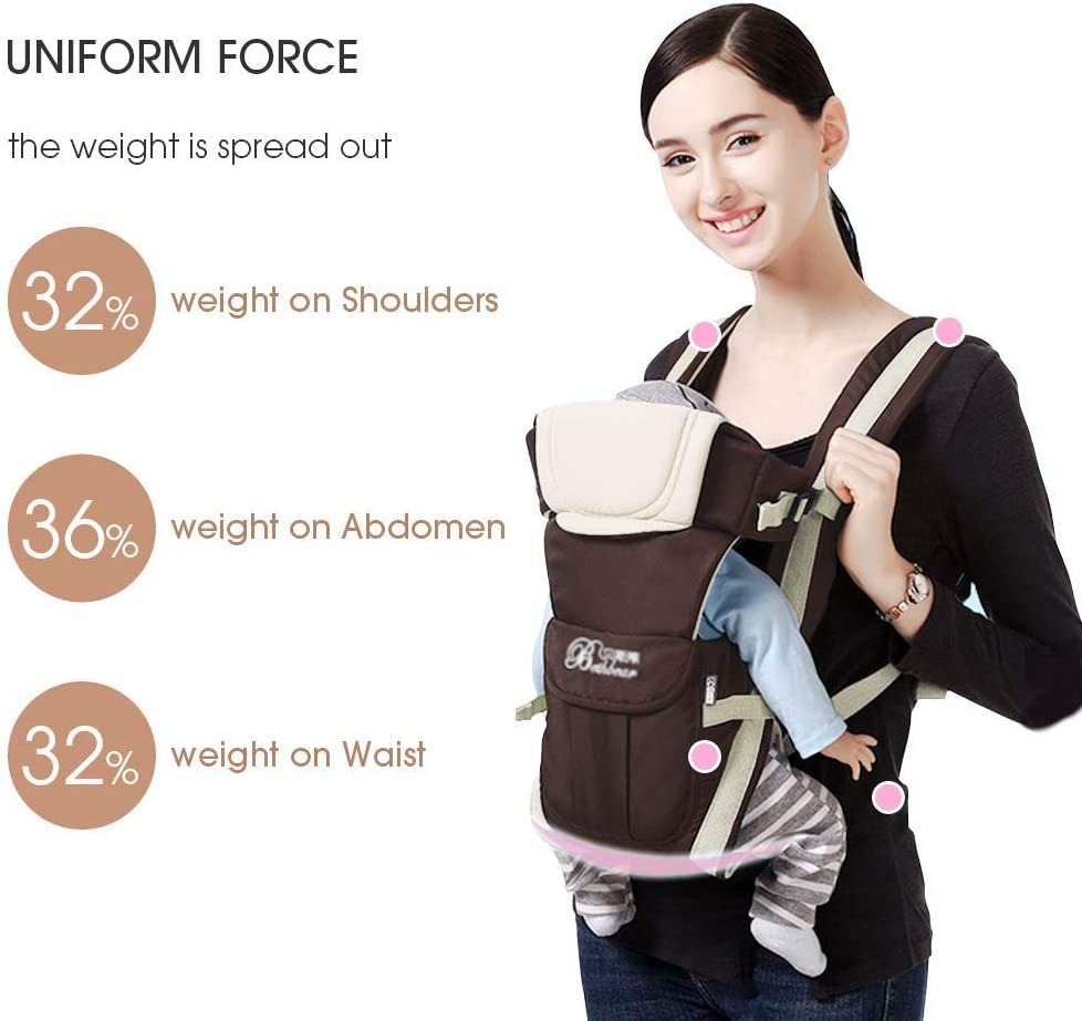 Black Brown Baby Carrier Infant Front Carrier from Birth to 18kg