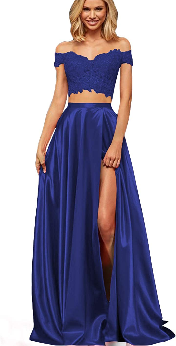 Lover Kiss Long Two Piece Prom Dresses with Slit Lace Satin Formal Party Gown for Juniors 2020