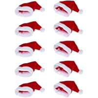Moca 10pcs Mini Santa Hat Cup Bottles Cover Christmas Gift Home Christmas Decor