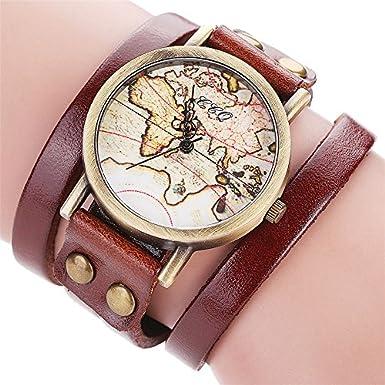 weant mujeres reloj de pulsera correa de terciopelo coreano mapa del mundo viajero globo esfera Retro Lady reloj analógico vestido cuarzo reloj: Amazon.es: ...